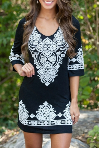 dress white black fashion style cute trendy pattern girly embroidered elegant classy fashionista