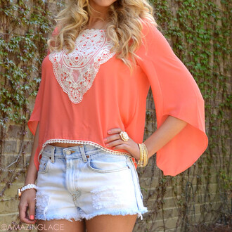 top coral lace crochet crop tops beach crepe asymmetrical flutter sleeves coastal summer