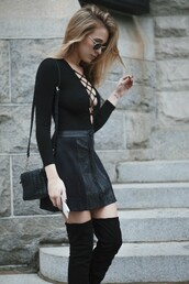 hustle and halcyon,blogger,shorts,skirt,shoes,bag,sunglasses,long sleeve bodysuit,long sleeves,black bodysuit,lace up bodysuit,mini skirt,black skirt,button up skirt,over the knee boots,black boots,over the knee,black bag,all black everything