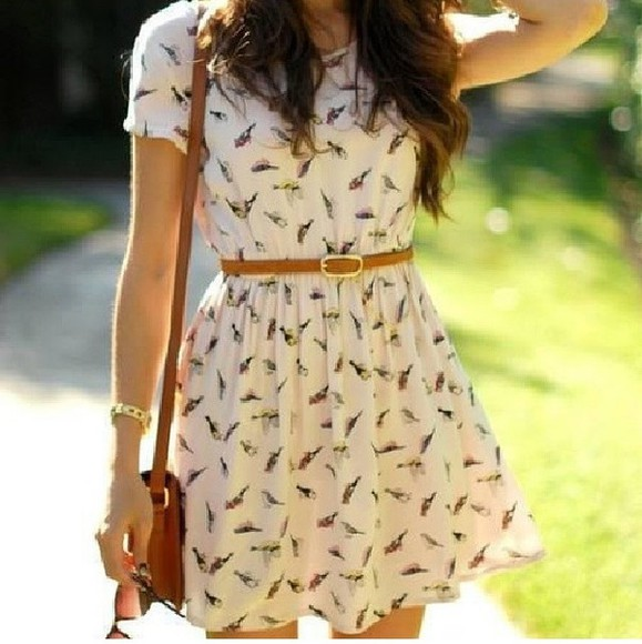 pattern dress birds white dress brown pretty dress belt nice hair