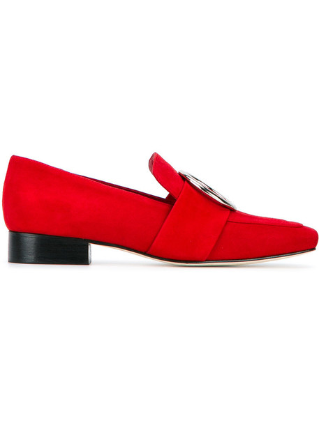 metal women loafers leather suede red shoes