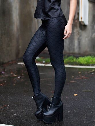 leggings black black leggings mermaid fish scales mermaid leggings tumblr black milk