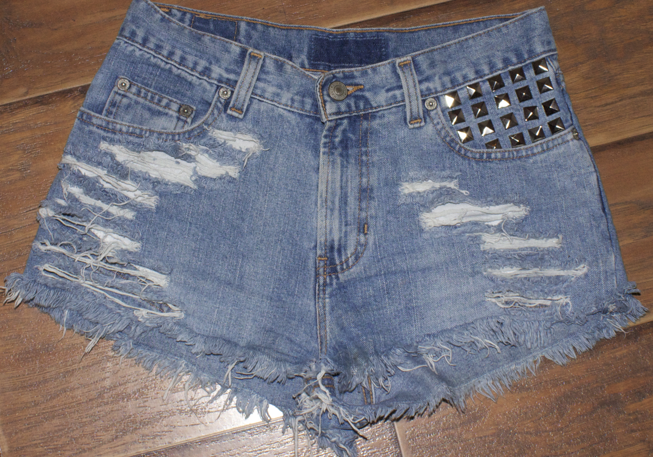 Silver studded high waisted shorts from lilianjazmynn on storenvy