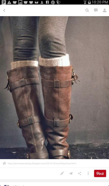 shoes boots light brown boots buckle boots knee high boots