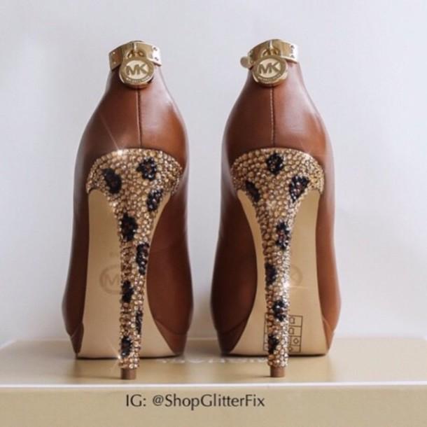 e4ff74d4364 shoes brown michael kors glitter high heels