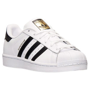 Adidas Original C77124 Superstar White Black Gold Label Foundation Kids GS Men's