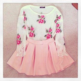 pink skirt sweater floural  sweater pink skirt pink pleated skirt floral sweater baby pink baby pink