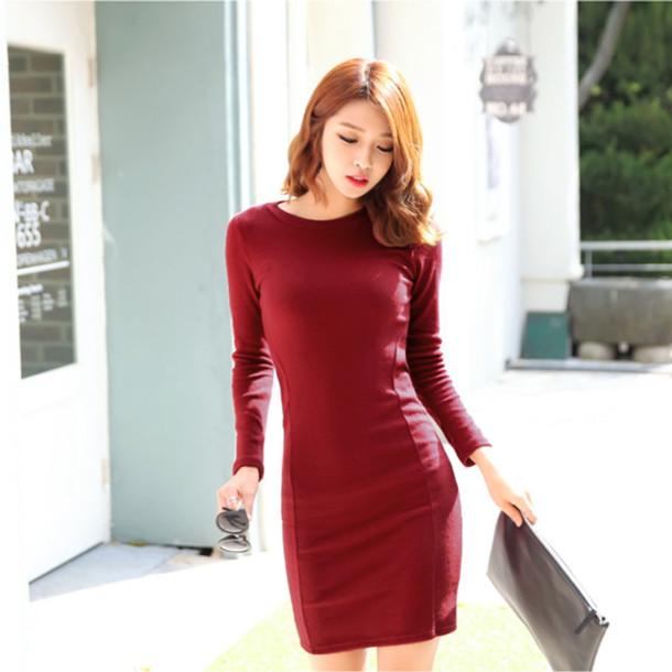 b4c8201d796 dress one piece dress burgundy korean fashion ulzzang sexy dress mini dress  bodycon dress tight-