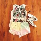 shirt,tumblr,skeleton,floral,tank top,white,rib,ribs,flowers,print,t-shirt,shorts