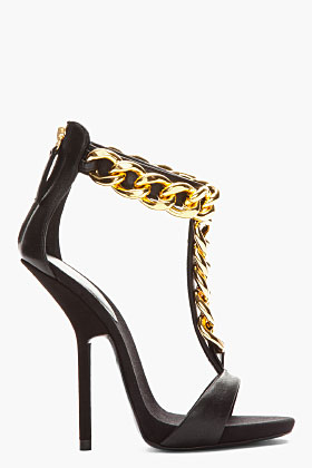 Giuseppe Zanotti Black Leather And Gold Chain Alien 115 Heels for women | SSENSE