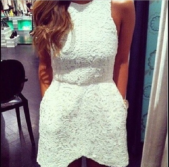 white dress lace dress lace top dress crochet
