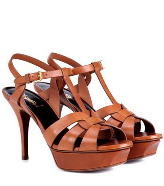 Saint Laurent classic sandals leather brown shoes