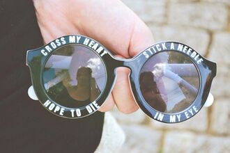 sunglasses writing round black black and white hipster