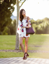metallic paws,blogger,romper,bag,shoes,off the shoulder,floral romper,long sleeves,white romper,purple,burgundy,lace up,lace up heels