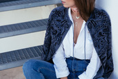 seams for a desire,blogger,jacket,shirt,jeans,shoes,suede jacket,long sleeves,white blouse,high waisted jeans,choker necklace,embroidered,blue jacket
