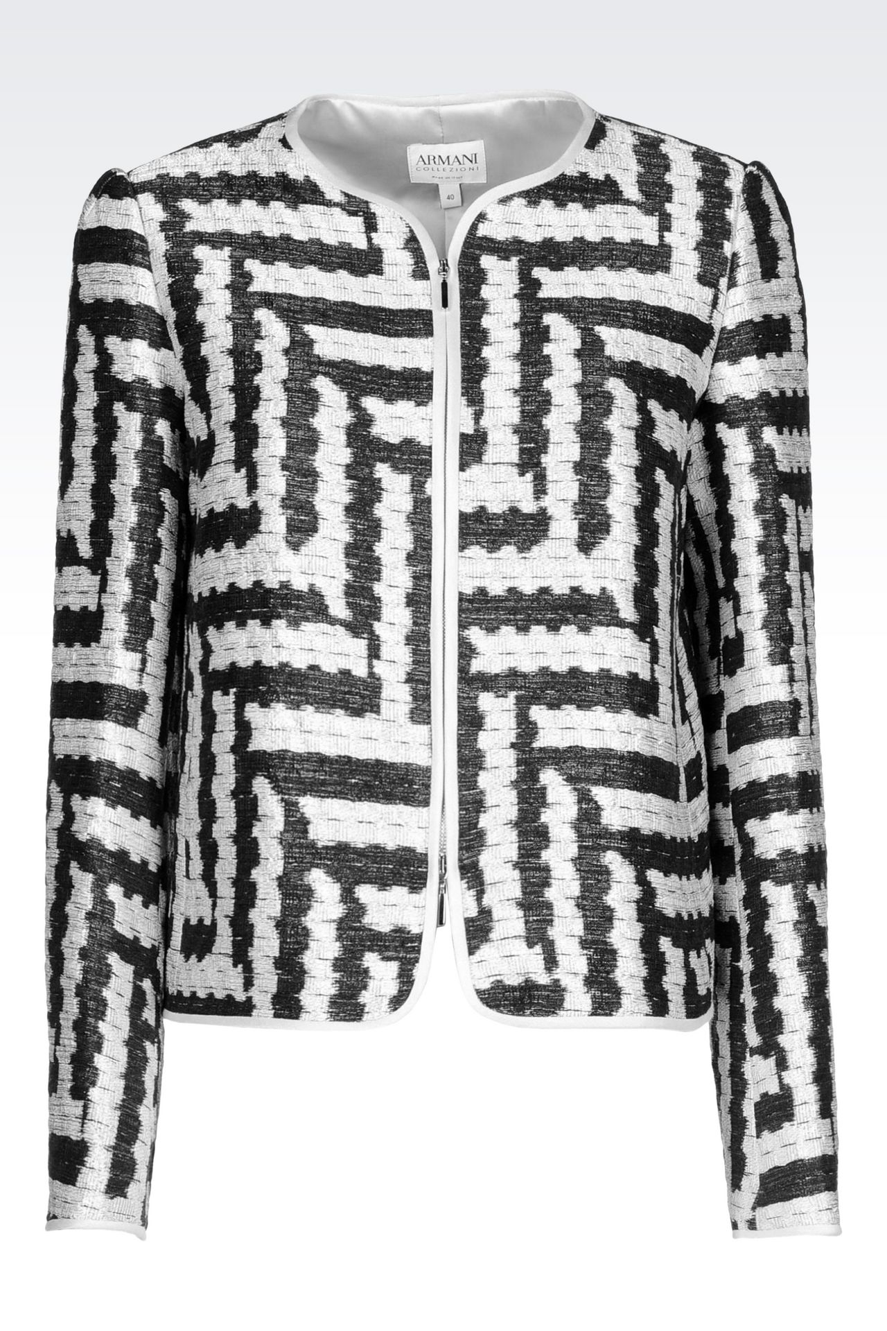 Crew neck jacket in geometric jacquard armani collezioni official online store