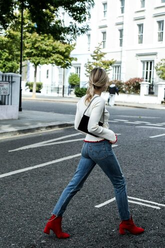 sweater tumblr white sweater bell sleeve sweater bell sleeves bag black bag jeans denim blue jeans boots red boots ankle boots mid heel boots fall outfits red ankle boots french girl style