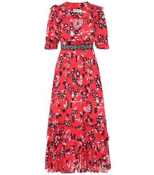 self-portrait dress midi dress midi floral red