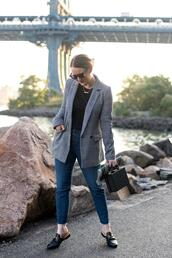 wit&whimsy,blogger,jacket,jeans,t-shirt,shoes,bag,jewels,blazer,fall outfits,skinny jeans,loafers