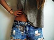 shorts,denim,studs,ripped,blue shorts,watch,studded shorts,gray shirt,t-shirt,blue,High waisted shorts,girly,studded,shirt
