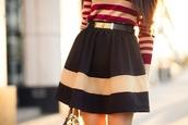 shirt,skirt,dress,tan and red long sleeve shirt,black skirt with gold belt