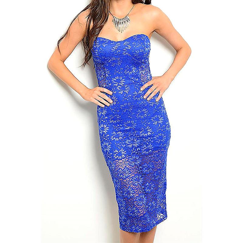 Blue Lace Strapless Knee-length Tube Dress