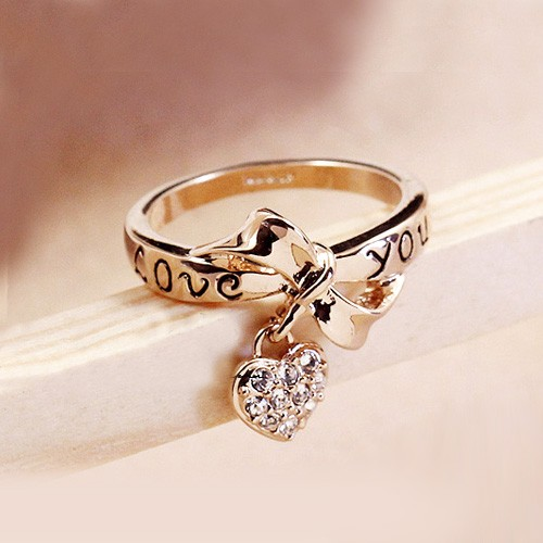 New Fashion Alloy 18K Gold Plated Bowknot Crystal Heart Women's Ring