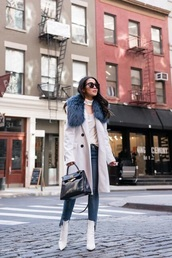coat,white coat,fur collar coat,blue jeans,cropped jeans,boots,white boots,bag,jeans,denim