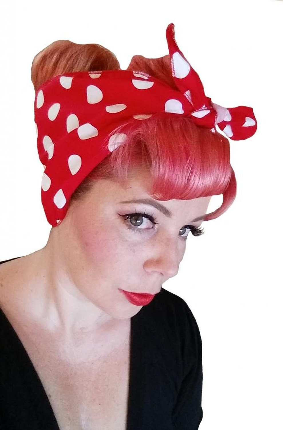 Amazon.com: spellbound bows red with big white polka dots double wide headwrap: clothing