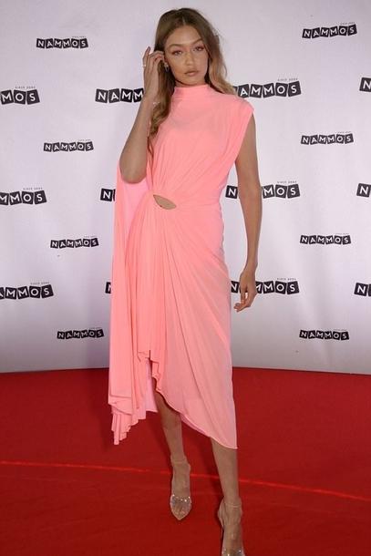 dress celebrity gigi hadid model pink midi dress summer dress asymmetrical asymmetrical dress