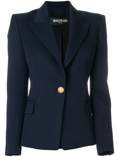 Balmain blazer women cotton blue wool jacket
