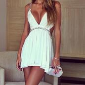 dress,white dress,summer dress,mini dress,plunge neckline,cut-out dress,formal,cute,glim,diamonds,bracelets,blonde hair,glamour,prom dress,hair accessory,white,chain,summer,cute dress,sexy,classy,silver,gold,white and gold dress,white short dress,short party dresses,gold chain,flowy dress,lovely,nice dress,chain dress,sexy party dresses,backless white dress,short dress,cleavage dress,party dress,party,brilliant,urban outfitters,we wore what,long,short,girl,vintage,elegant,sparkle,cut-out,pretty,swag,dope,sexy dress,gossip girl,white chained backless dresss,summer outfits,beach,high heels,heels,white shoes,platform shoes,jewels,hot,streetwear,streetstyle,blue dress,fit and flare dress,skater dress,diamond dress,gap dress,gloves