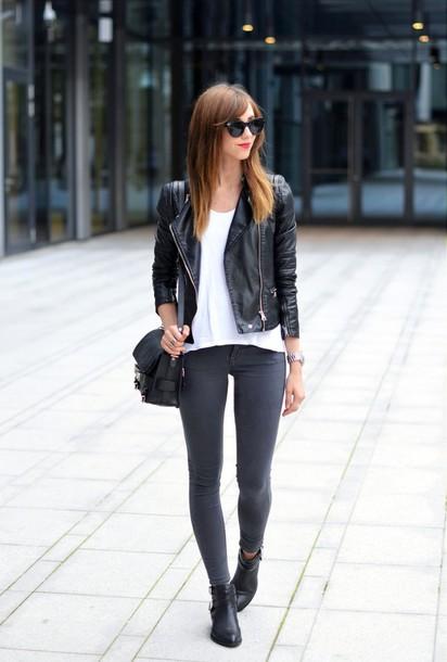 vogue haus blogger top jeans jacket bag sunglasses jewels shoes