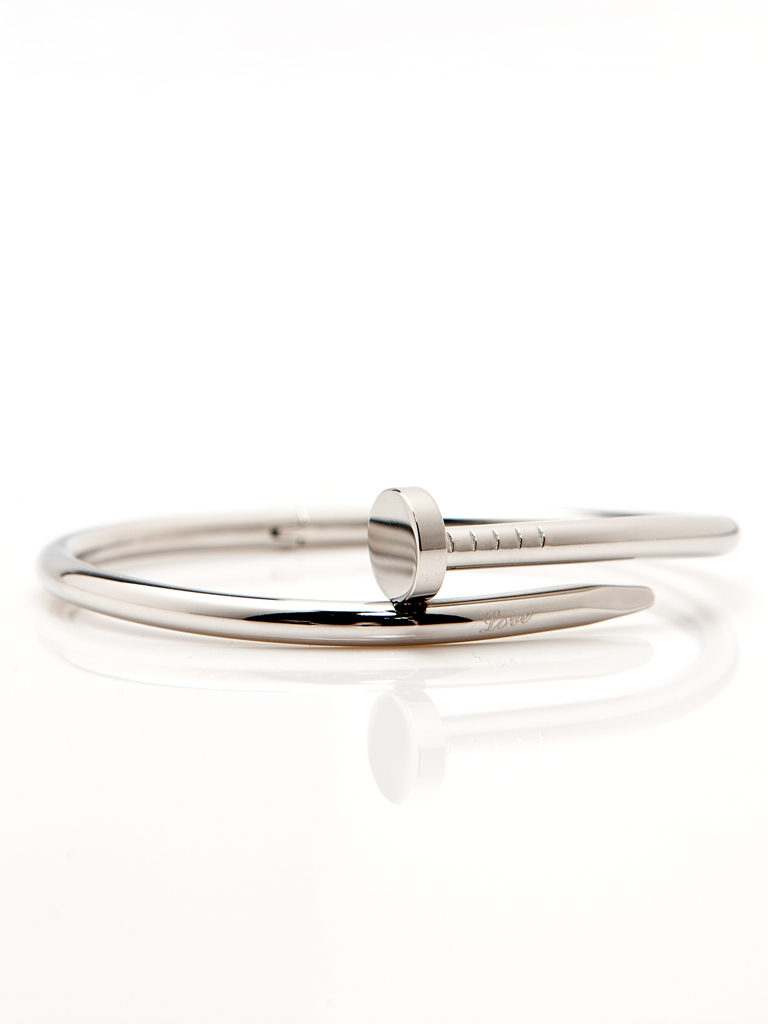 Twisted Nail Bangle – Silver