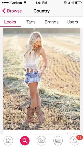 shirt denim shorts cream crop top cowboy boots