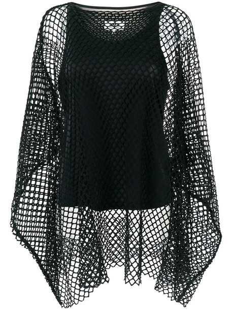 Mm6 Maison Margiela blouse women spandex layered net black top