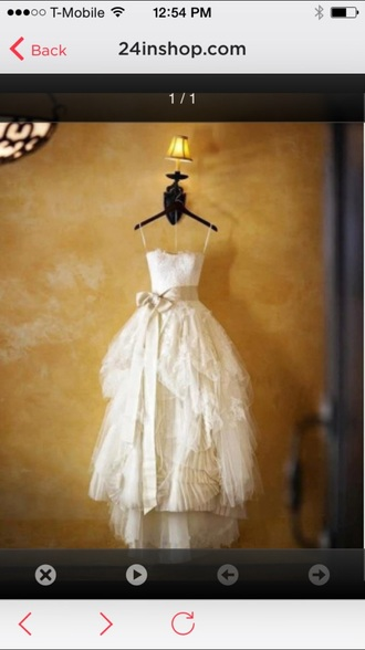 dress cream wedding wedding dress tattered lace beach look ruffled ribbon sash