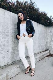 pants,white pants,top,jacket,shoes,sandals,strappy sandals