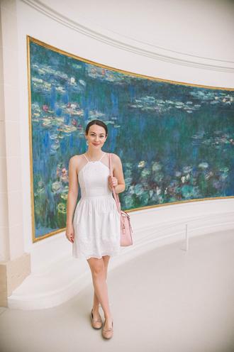 thecollegeprepster blogger dress bag jewels mini dress white dress pink bag ballet flats summer outfits