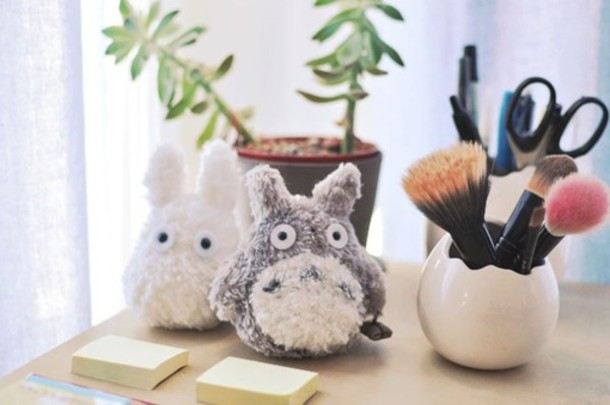 home accessory stuffed animal totoro makeup brushes kawaii toy