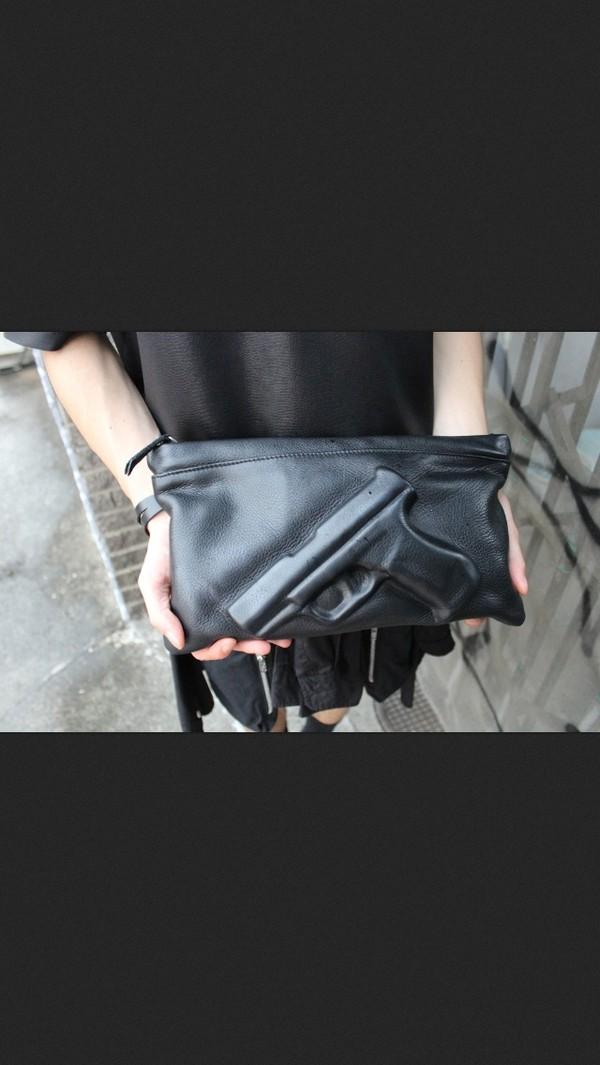 bag black leather bag gun