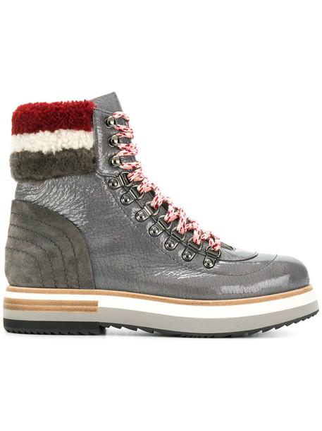 Fabi women leather suede grey shoes