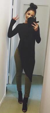 top,long sleeves,asymmetrical,black