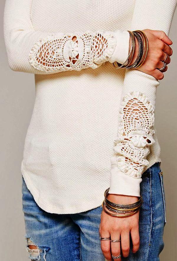 crochet boho knitwear beige lace