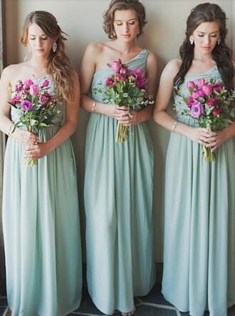 dress fashion a line prom gowns sexy one shoulder dress floor length dress blue dress long bridesmaid dress