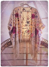 sweater,kimono,floral,cardigan,light,fringe kimono