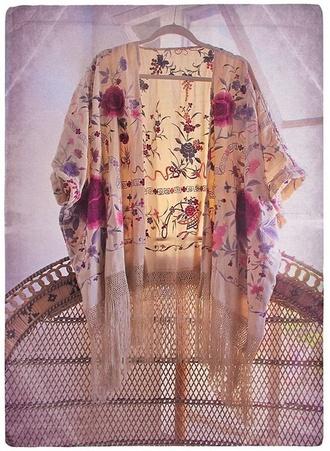 sweater kimono floral cardigan light fringe kimono