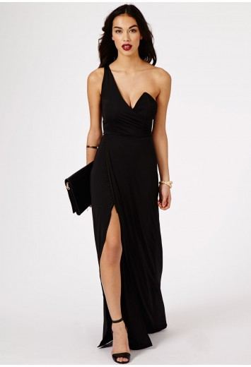 Koemi one shoulder bustier split maxi dress in black