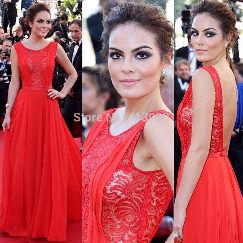 Aliexpress.com : Buy Red Lace Backless 2014 A Line Evening Gowns with Scoop Neck Chiffon Tank Strap Ribbon Floor Length Celebrity Dresses Prom Dress from Reliable gown red suppliers on Chaozhou City Xin Aojia dress Factory