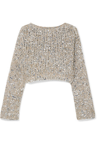 sweater open cropped silver knit